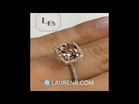 8 mm Cushion Cut Morganite Halo Engagement Ring