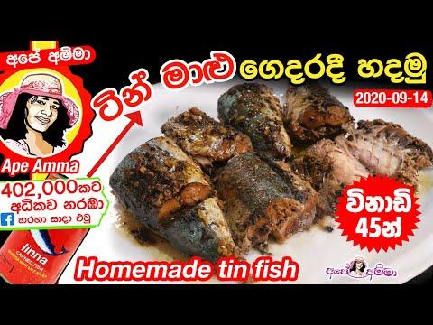 ✔ විනාඩි 45න් ටින් මාළු ගෙදරදී හදමු Home-made tin fish (saman tin) by Apé Amma
