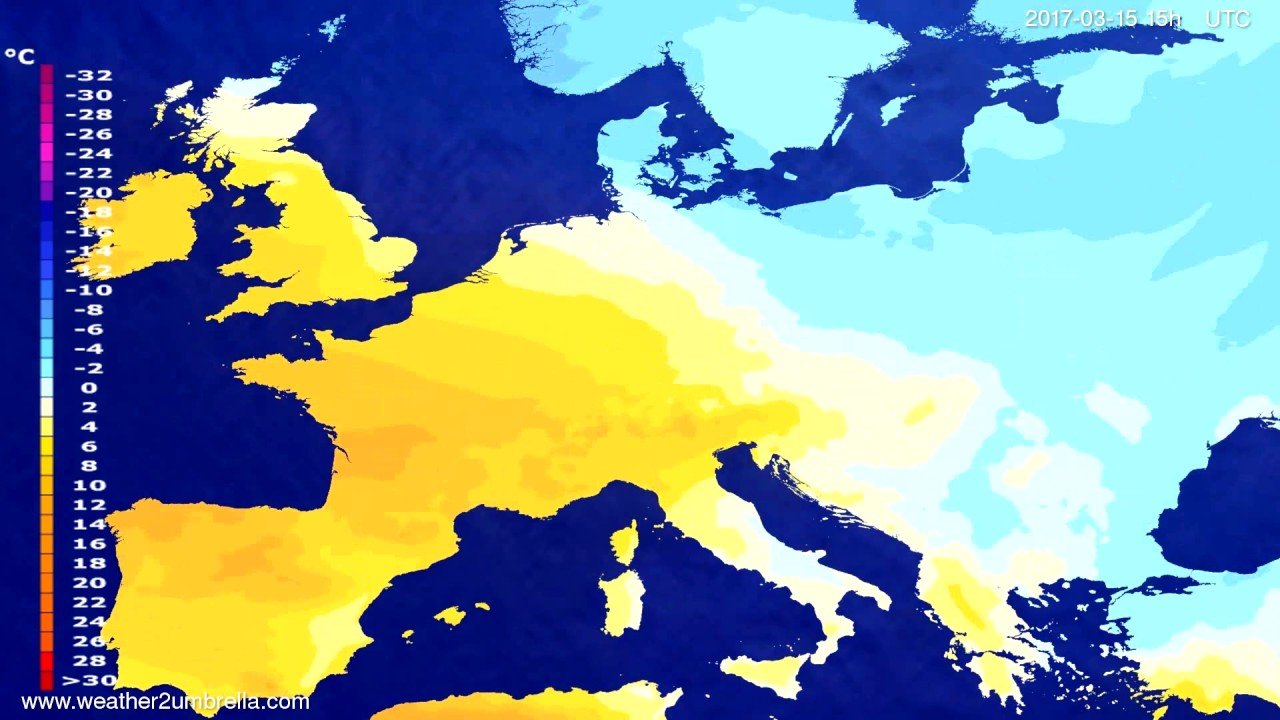 Temperature forecast Europe 2017-03-13