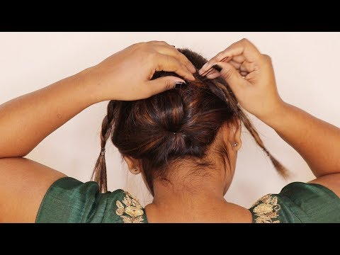 New hairstyle - saree hairstyles for medium hair in tamil\NEW\hairstyle tips and tricks\without donut\onam hairstyle