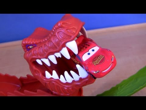 dinosaur - Watch t-rex dinosaur eating lightning mcqueen with this T-Rex takedown playset track from hot wheels. Tease or prank the dinosaur. Just line up the cannon la...