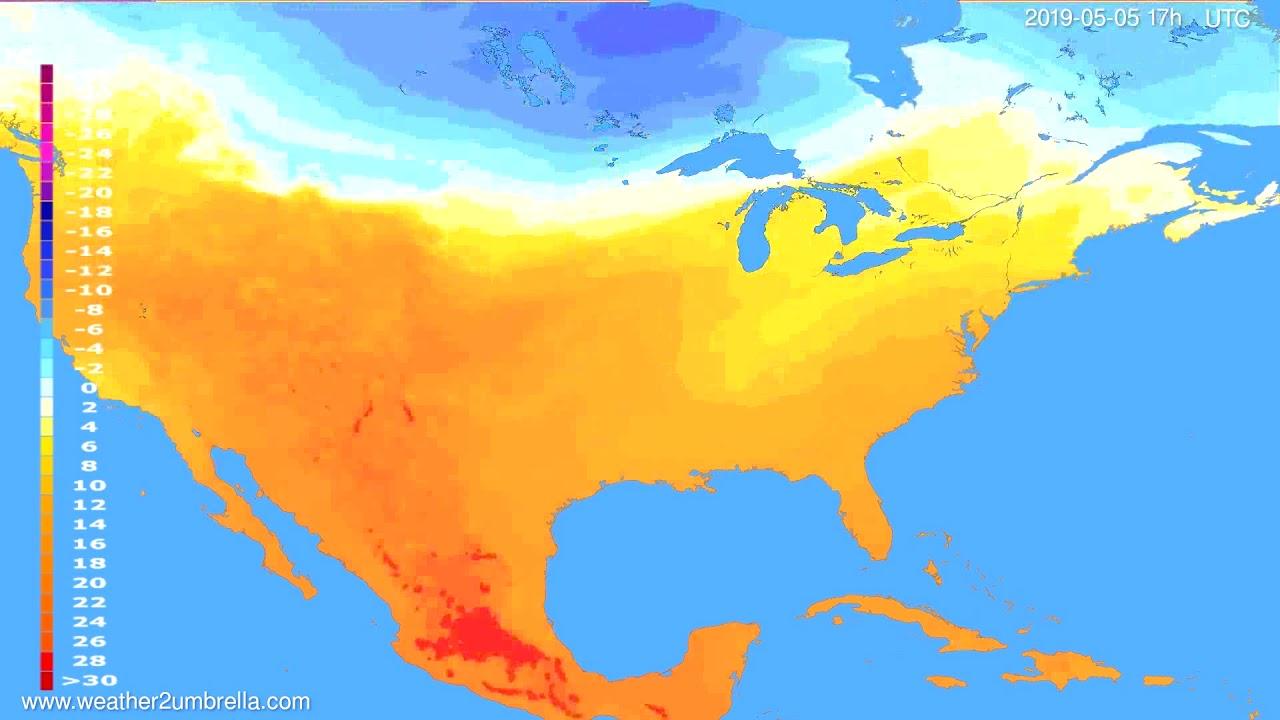 Temperature forecast USA & Canada // modelrun: 00h UTC 2019-05-04