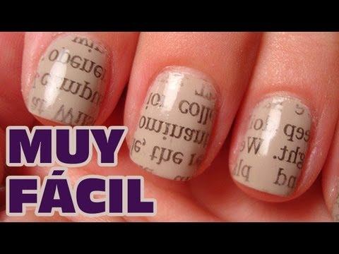 Decorar uñas con periódico MUY FACIL (Uñas decoradas) | Pintar uñas con esmalte sencillas