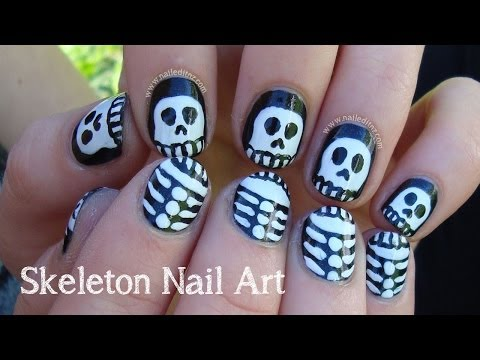 Skeleton Nail Art for Halloween