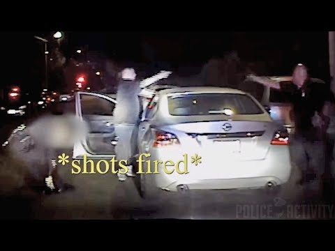 Dashcam & Bodycam Footage of Police Shootout With Gang Member