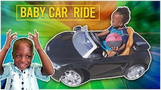 Baby Josiah takes his Kids Audi R8 Roll Play Car out for a Ride