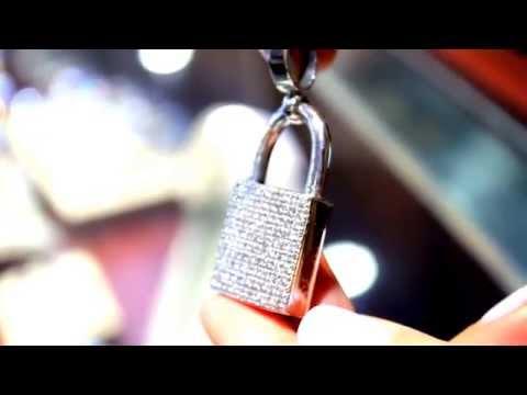 14K White Solid Gold Unisex Diamond Lock Pendant 4.27 Ctw