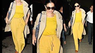 Deepika Padukone Hot In Bright Yellow Airport Look - Deepika Padukone's bright yellow airport look reminds us of her Golden Globe Awards 2017 Ralph Lauren gown
