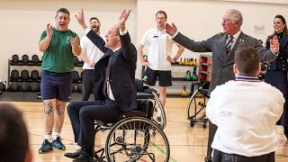 video: Prince William scores in wheelchair basketball ...with a little help from Pa