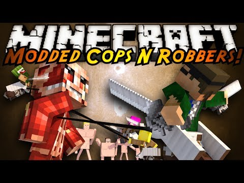 Minecraft Mini-Game : MODDED COPS N ROBBERS! ATTACK ON TITAN!