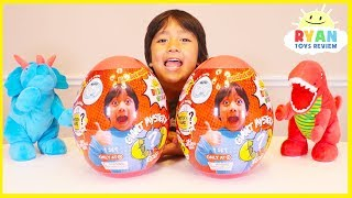 Ryan Pretend Play Dinosaurs Laying Two Giant Surprise Eggs Toys!!!!