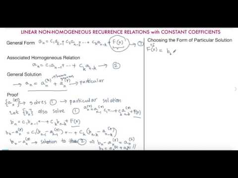 Linear Non homogeneous Recurrence Relations with Constant Coefficients