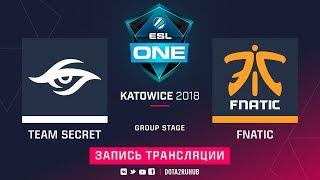Secret vs Fnatic, ESL One Katowice, game 2 [Adekvat, Mila]