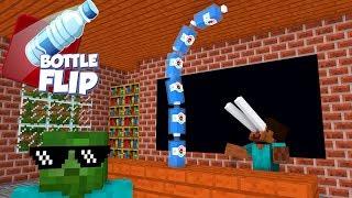 Video Monster School : BOTTLE FLIP CHALLENGE - Minecraft Animation MP3, 3GP, MP4, WEBM, AVI, FLV Desember 2018