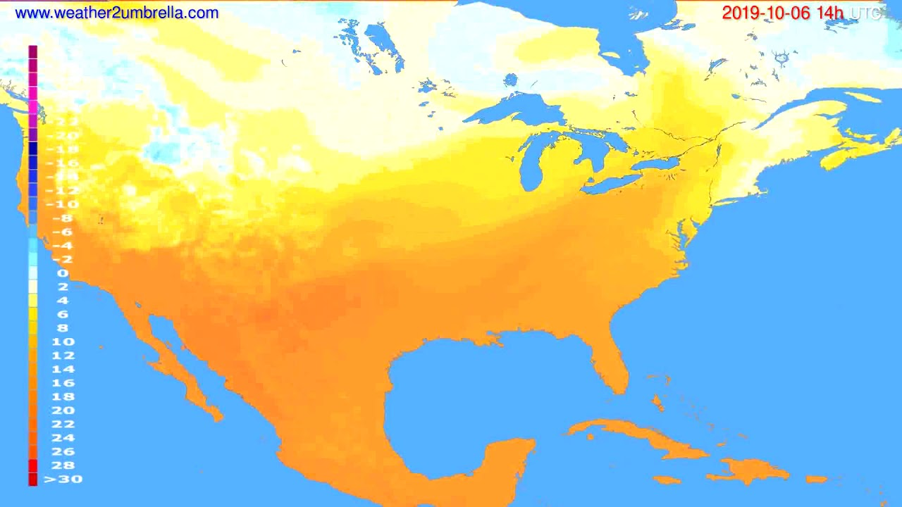 Temperature forecast USA & Canada // modelrun: 00h UTC 2019-10-04