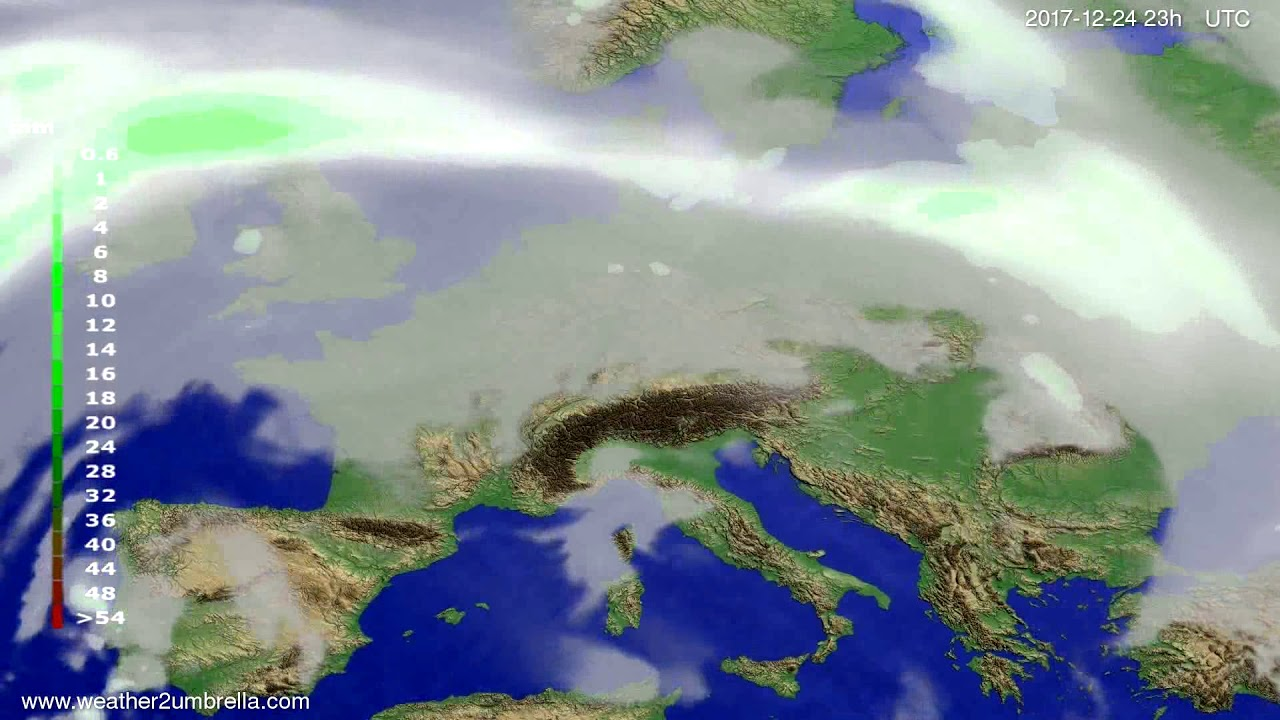 Precipitation forecast Europe 2017-12-21