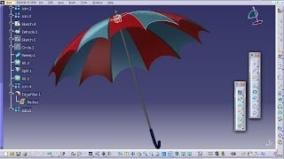 Catia V5 Tutorial|How to Design an Umbrella P2|Product Design Engineering Beginner's