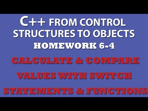 C++ Calculate Values (Ex 6.4) Using Functions and Switch Statements