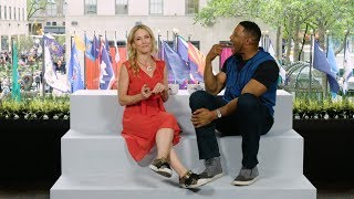 Talk Stoop Taxi Take: Michael Strahan and Cat Greenleaf play a lightning round of his new show, $100,000 Pyramid.