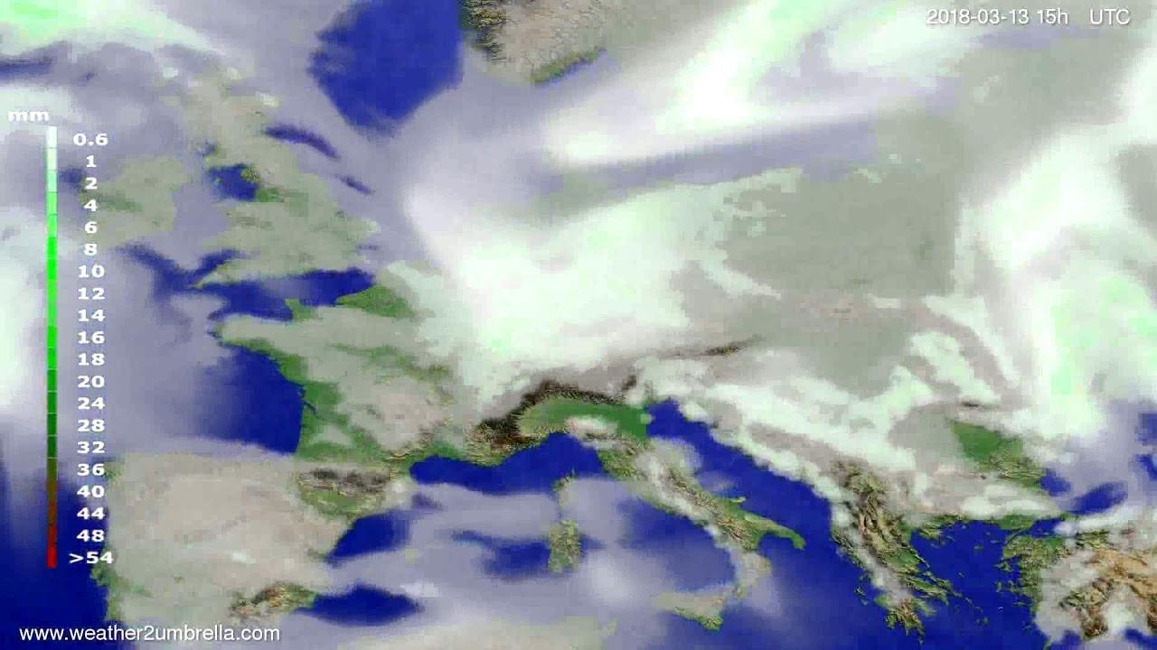 Precipitation forecast Europe 2018-03-10