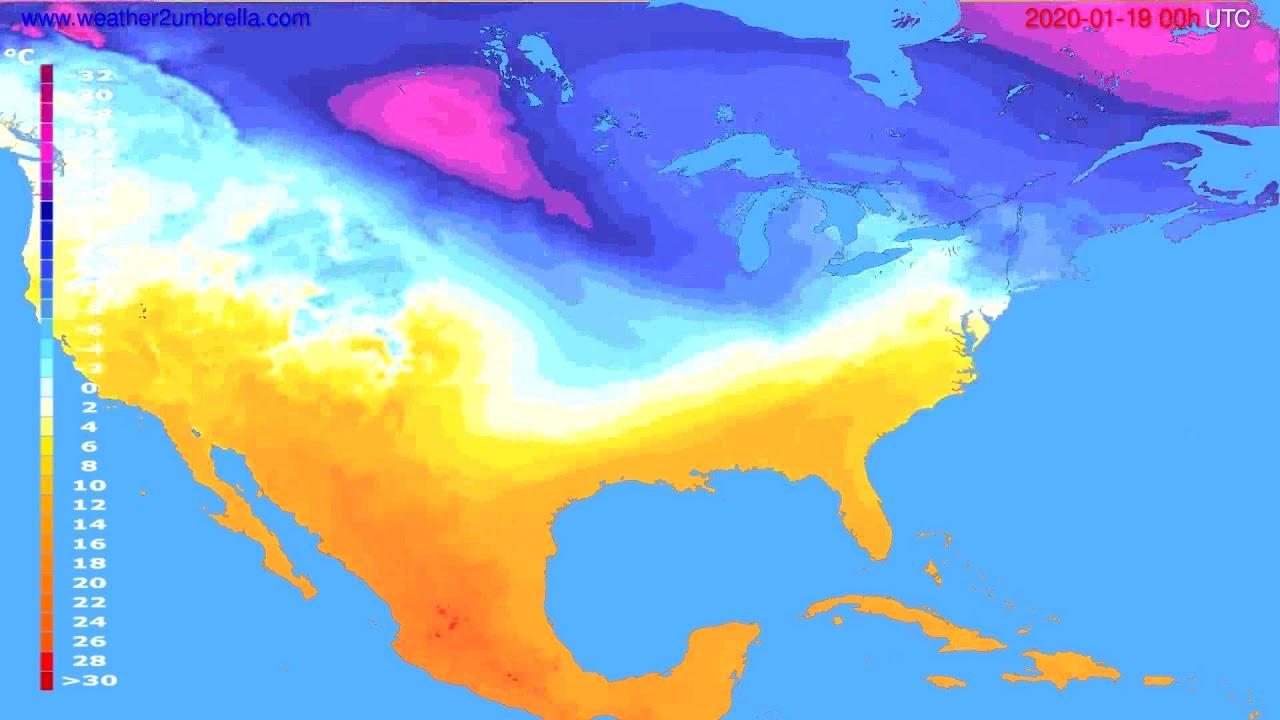Temperature forecast USA & Canada // modelrun: 00h UTC 2020-01-18