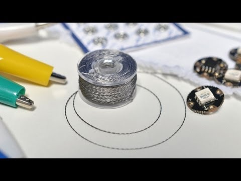 Tips Industries - Sew with STEEL! Becky Stern shares her tips & techniques: http://learn.adafruit.com/conductive-thread/ Sewable LED Sequins: http://www.youtube.com/watch?v=Xp...