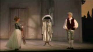 From a 1993 performance of Mozarts Le nozze di Figaro (The Marriage of Figaro) at the Théàtre du Châlet in Paris, directed by Jean Louis Thamin and conducted by John Eliot Gardiner. Alison Hagley (Susanna), Rodney Gilfry (Count Almaviva), Hillevi Martinpelto (Countess Almaviva).