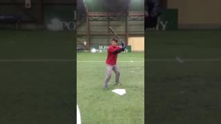 「頭付近のボールをティーバッティング」(野球教室 ブリスフィールド東大阪 平下コーチ(元阪神タイガース)
