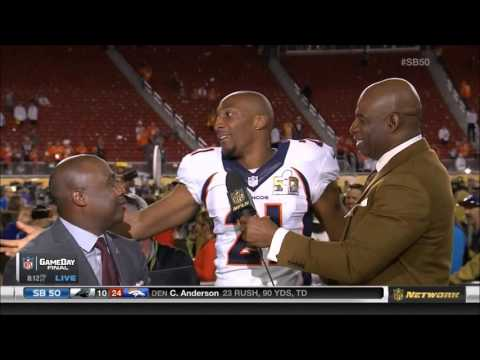 WATCH: Aqib Talib Busts his butt during his Super Bowl Post Game interview