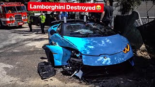 LAMBORGHINI PERFORMANTE LOSES CONTROL & CRASHES  HEAD ON INTO CAR!