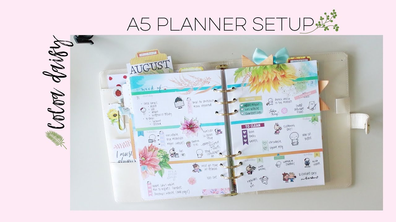 Recollection A5 Planner Setup - Cocoa Daisy August 2017