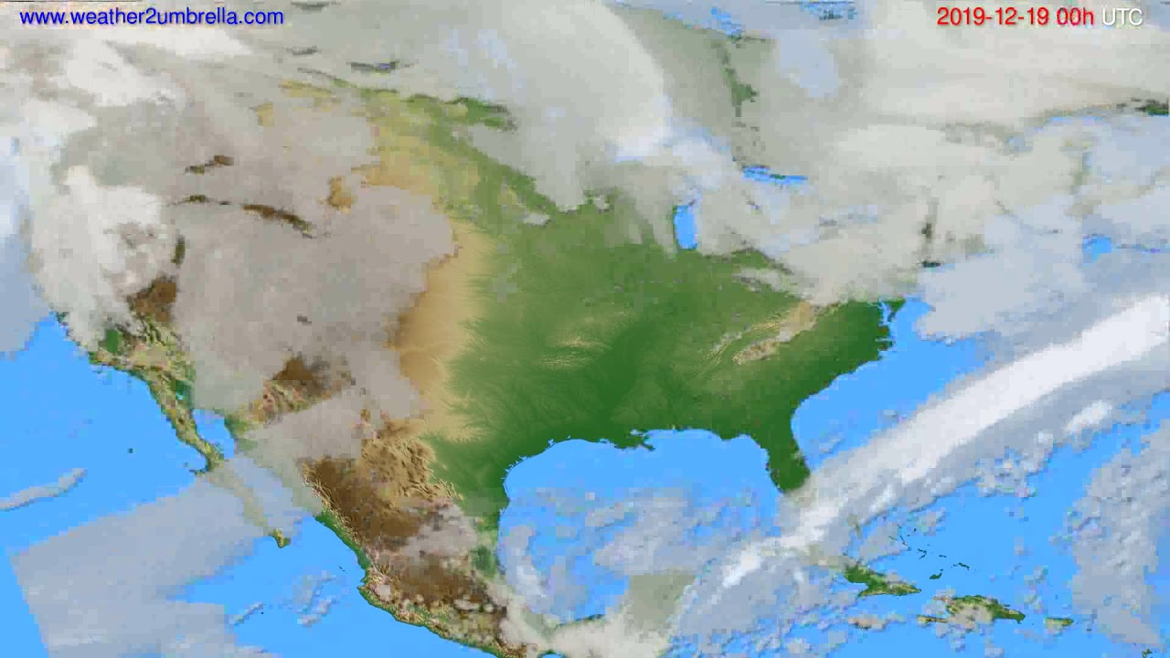 Cloud forecast USA & Canada // modelrun: 00h UTC 2019-12-18