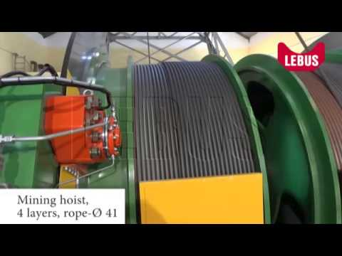 Mining hoist spooling onto 4 layers