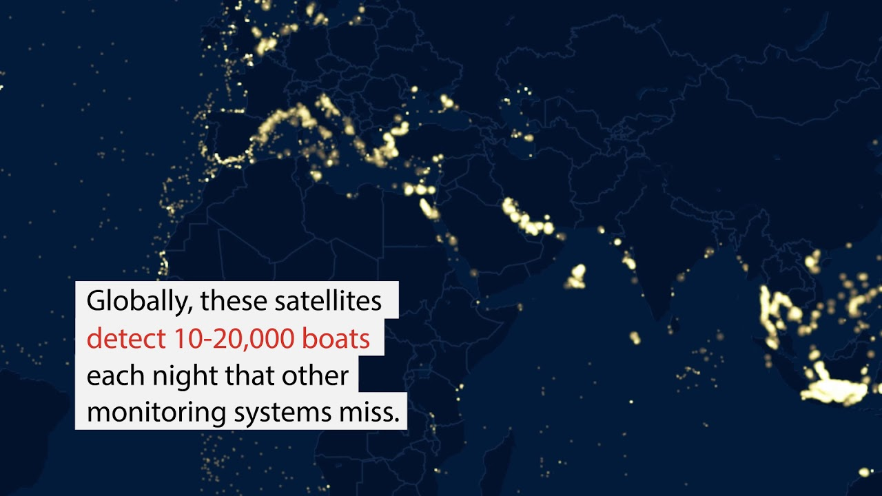 In search of squid: A fleet of Chinese squid fishing vessels works a pocket of the Arabian Sea just outside the national waters of Oman and Yemen. Because they fish only at night using lights to attract the squid to the surface, new detection methods show the fleet is considerably larger.