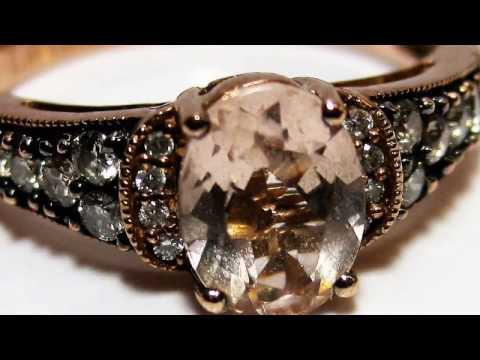 LE VIAN Peach MORGANITE RING DIAMONDS 14K Rose GOLD RING SIZE 9
