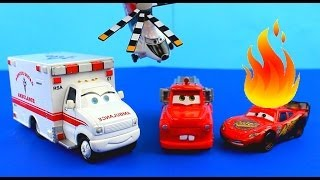 Video Disney Pixar Cars Rescue squad mater Saves Lightning McQueen on fire after Hellicopter accident. MP3, 3GP, MP4, WEBM, AVI, FLV September 2018