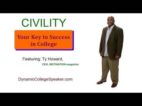 College Speakers - http://www.dynamiccollegespeaker.com Civility - Your Key to Success in College Featuring Ty Howard. College First Year Experience Speakers. FYE Motivational ...