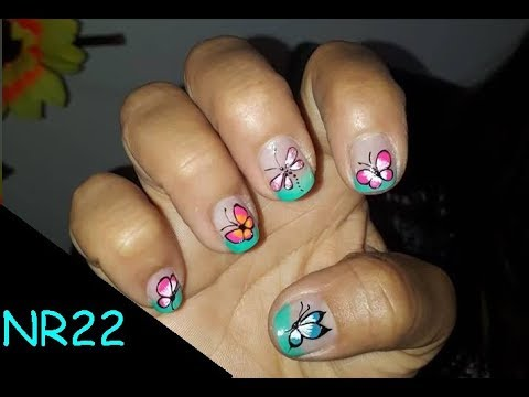Videos de uñas - DECORACION DE UÑAS- MARIPOSA - DECORATION OF NAILS- BUTTERFLY- NR22