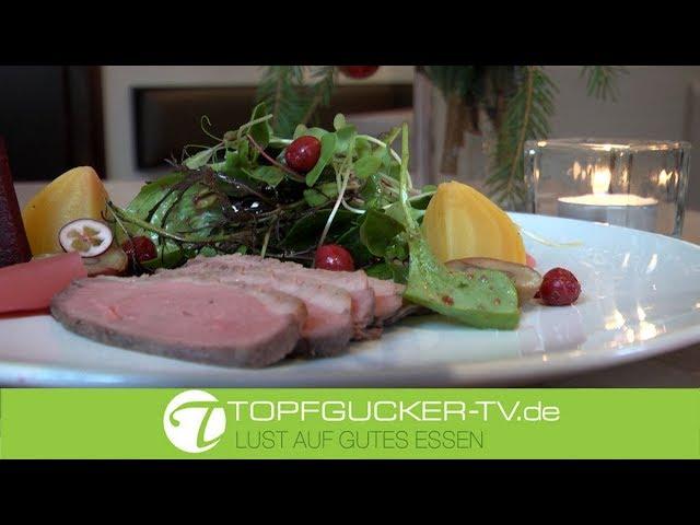 Marinierte Gänsebrust   Cumberlandsauce   Wintersalate   Cranberry Dressing   Rezeptempfehlung Topfgucker-TV
