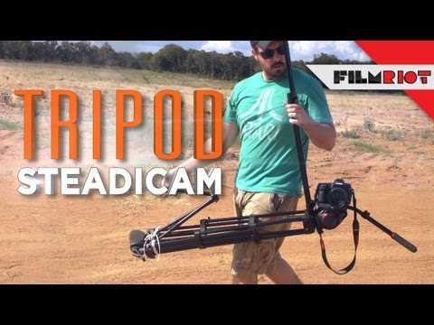 filmriot - See how to get some smooth shots using only the gear you have right now! Original video for the Tripod Steadicam: http://www.bit.ly/originalgangsta Original ...