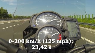 10. 2015 BMW F 800 GS 0-200 acceleration & top speed