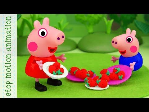 Picnic basket. Peppa pig toys stop motion animation english episodes 2018