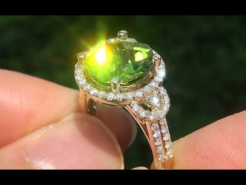 CERTIFIED Natural VS1 Peridot Diamond 14k Yellow Gold Cocktail Ring GEM - A141692