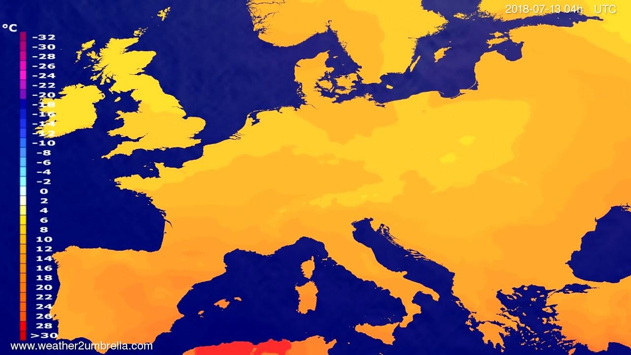 Temperature forecast Europe 2018-07-09