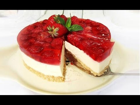 cheesecake alle fragole, facile e senza cottura - la video ricetta