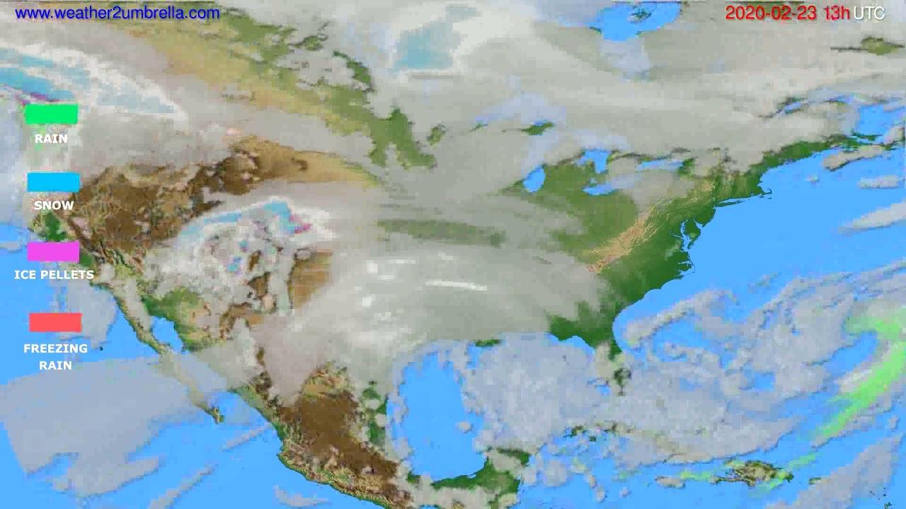 Precipitation forecast USA & Canada // modelrun: 12h UTC 2020-02-22