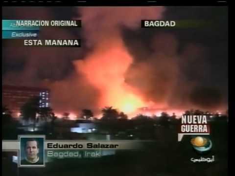 Momento del bombardeo en Bagdad