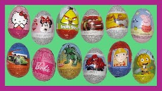 Join us for this video of unwrapping 12 chocolate surprise eggs! Each of the eggs is hiding a surprise toy! I wonder what we will get!Some of the surprise eggs are Disney Marvel Spiderman, Disney Pixar Frozen, Disney Mickey Mouse and Minnie Mouse, Barbie, we even have Peppa Pig and Tom and Jerry! Come, have a look!😀😀😀😀😀😀😀😀😀😀   SUBSCRIBE   😀😀😀😀😀😀😀😀😀😀Like our videos? Subscribe for more every day http://bit.ly/1N2x3rU❤️💛💙💜❤️💛💙   RECOMMENDED VIDEOS   ❤️💛💙💜❤️💛💙 Disney Jigsaw Puzzles Mickey & Minnie Mouse Pluto Goofy Donald & Daisy Duck Mickey Mouse Clubhousehttps://www.youtube.com/watch?v=7nrhS7E6rwYDinosaur Finger Family Nursery Rhyme Collection Disney Pixar Good Dinosaur with Olaf from Frozen https://www.youtube.com/watch?v=dA6xxx0Ui7oThomas & Friends: Emily Vs Thomas, Percy, Diesel, Toby, James Daddy Finger Nursery Rhyme Compilationhttps://www.youtube.com/watch?v=ZvCLZF-qnwUMickey Mouse Clubhouse Explore - Mickey Mouse Clubhouse Finger Family Children's Nursery Rhymeshttps://www.youtube.com/watch?v=dKngRJqRQXkDinosaur Finger Family Nursery Rhyme Collection Disney Pixar Good Dinosaur Big Hero 6 Hiro Baymaxhttps://www.youtube.com/watch?v=ZtajLzx5NUw