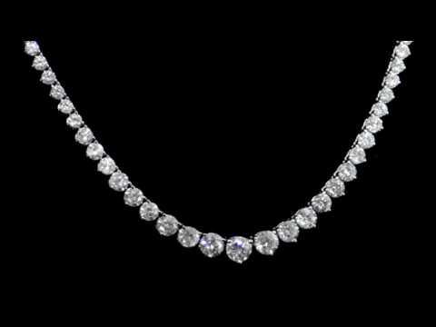 Lady's 18k White Gold 13ct (TDW) Diamond Tennis Necklace