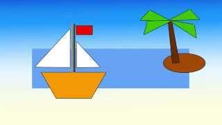 Играем в геометрию. Кораблик из геометрических фигур.
